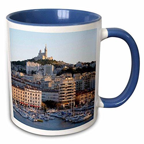 Vieux Port - 3dRose Danita Delimont - France - France, Marseille. Vieux-Port with Basilique Notre Dame de la Garde - 15oz Two-Tone Blue Mug (mug_227261_11)