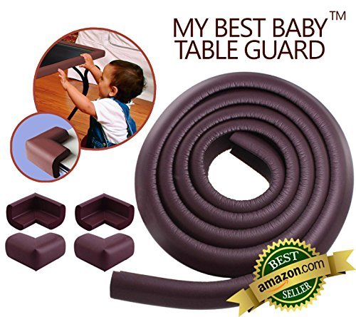 My Baby Table Guard | Excellent Home Furniture Safety Bumper for Children Protection | Extraordinarily Soft Cushion Prevents Damage to Your Furniture | Super Simple DIY Installation with Self Adhesive Tape | Stylish Dark Brown | Set of 4 Corner Guards and