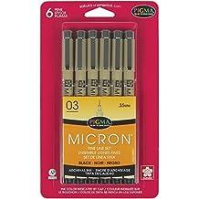 Sakura 50037 6-Piece Pigma Micron-03 Ink Pen Set, 0.35mm, Black by Sakura