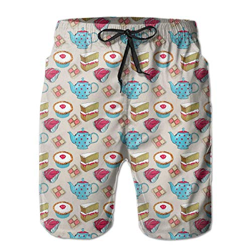 Quick Dry Beach Shorts Cake Teacup Pattern Surfing Trunks Surf Board Pants with Pockets for Men£¬ White