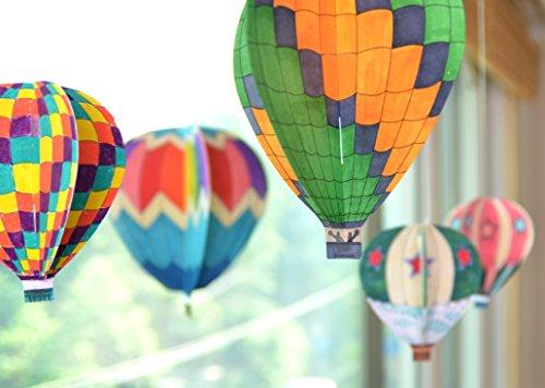 JAMSTUDIO Colorful Land Air Balloon - DIY Coloring Mobile,Garland (2 Pack Set)