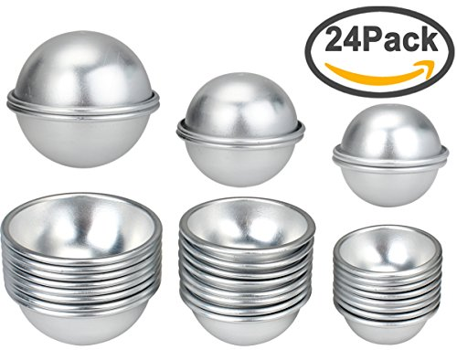 FASOTY Metal Bath Bomb Mold, 24 Pieces 12 Sets DIY Bath Bomb Mold Fizzles with 3 Sizes for Lush Round Bath Bomb Molds Kit for Homemade DIY Crafting