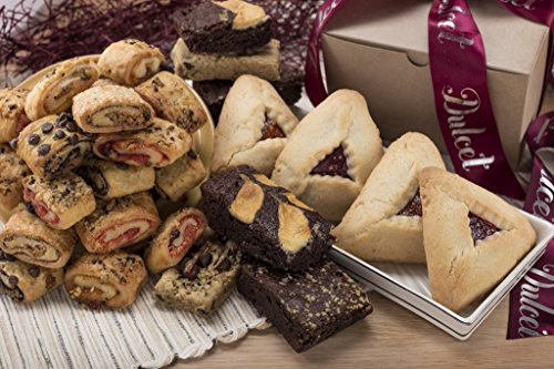 Dulcet Simply Divine Gift Assortment Includes: Raspberry Hamentashen, Apricot Hamentashen, Walnut Brownie, Cheese Brownie, Chocolate Chip Blondie, Assorted Rugelach, Divine Gift Box!