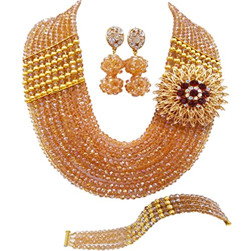 aczuv Nigerian Jewelry For Women African Wedding Necklace Set Crystal Beaded Bridal Jewelry Sets (Champagne Gold AB) -