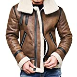 Yuxikong Bomber Jacket Men, Winter Vintage Full Zipper Thick Sherpa Lined Faux Leather Jacket Coat (Brown B, XXL)