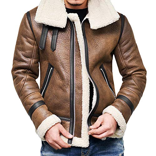 Yuxikong Bomber Jacket Men, Winter Swedish Full Zipper Thick Sherpa Lined Faux Leather Jacket Coat (Brown, M)