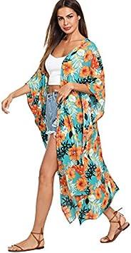 SweatyRocks Women's Flowy Kimono Cardigan Open Front Maxi D