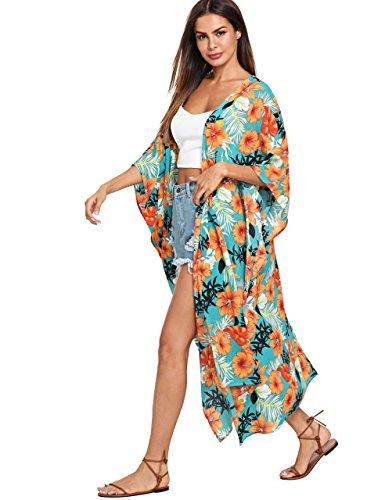 SweatyRocks Women's Flowy Kimono Cardigan Open Front Maxi Dress Long Cover Ups Turquoise L (Dress Front Long)