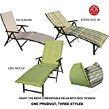 Kozyard Cozy Aluminum Beach Yard Pool Folding Reclining Chaise Lounge Chair (Beige with Lime Cushion)