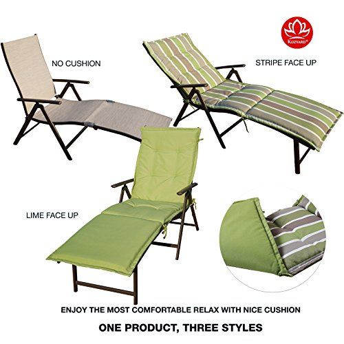 m Beach Yard Pool Folding Reclining Chaise Lounge Chair (Beige with Lime Cushion) (Beige Cushions Outdoor Aluminum Patio)