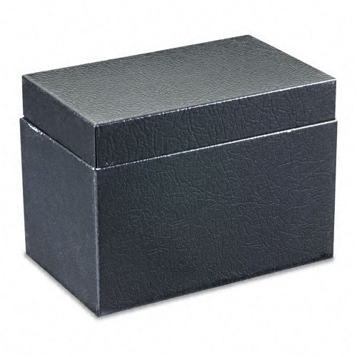 (Buddy Products Steel Card File Box with Hinged Lid Holds Approximately 400 4 x 6 Cards, Black)