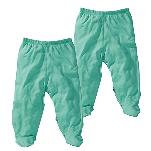 Babysoy Modern Organic Footie Pants - 2 Pack (6-12 Months, Seafoam) -
