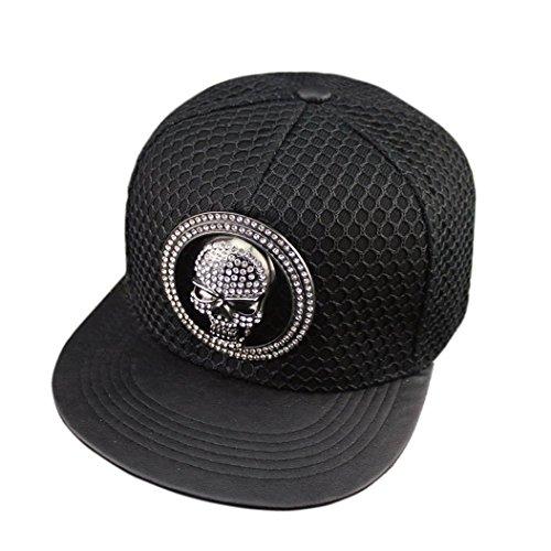 Price comparison product image Kafeimali Men's Women's Hip-hop Hat Metal Skull Baseball Caps Sports Sun Hats (Black)