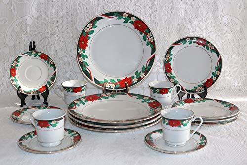 Tienshan Deck the Halls 16 Piece Christmas Holiday Dinnerware Dish Set