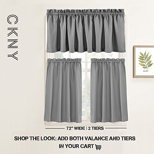 Waffle Weave Half Window Curtains for Kitchen/Bathroom Window Treatment Tiers Set (72-by-45 Inch Long, Grey, One Pair) by jinchan (Image #7)'
