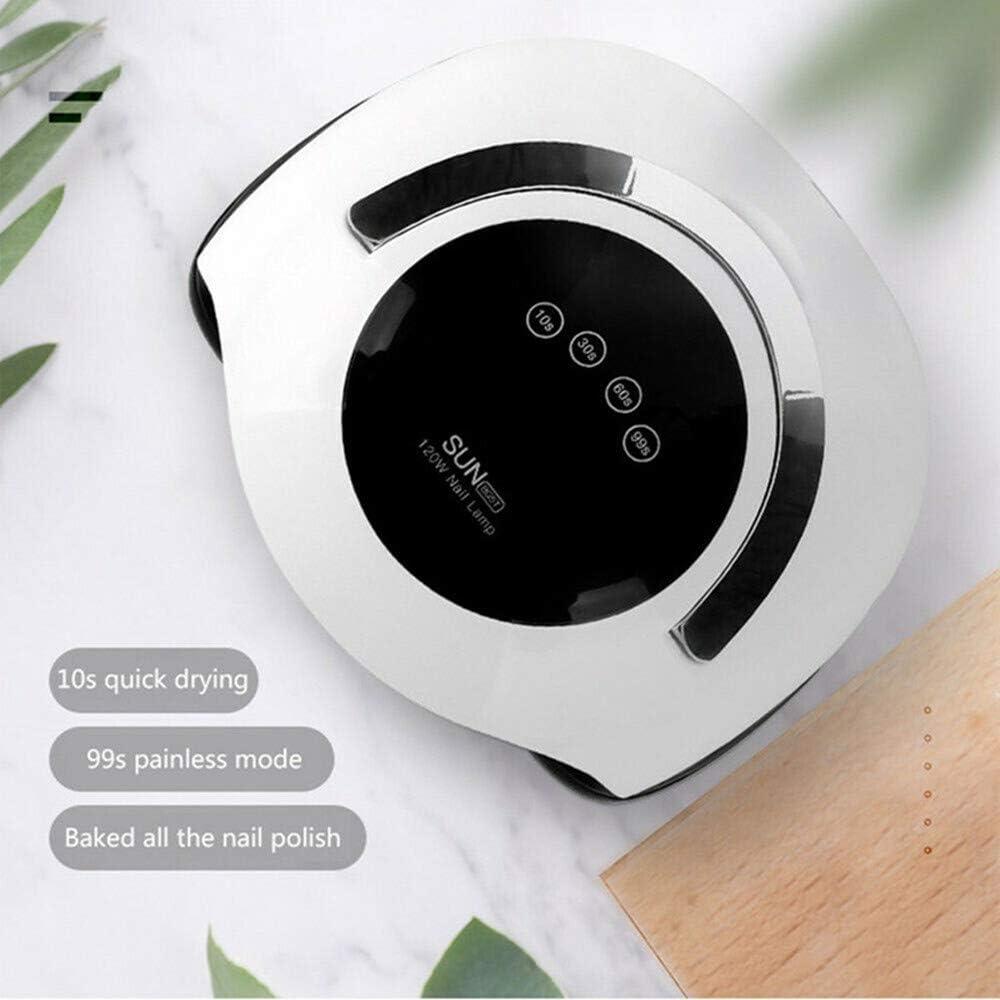 RTYUI - Secador de uñas portátil, 120 W, gel de secado rápido, lámpara UV LED, pantalla táctil, lámpara de gel profesional de calidad de salón, Blanco y negro, 11.8 * 9.2 * 5inch