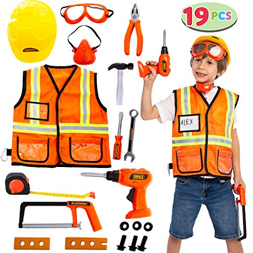 JOYIN Construction Worker Costume Role Play Tool Toys Set for 3-6 Years Old Kids, Great Educational Toy Gift for Christmas and Birthday Orange