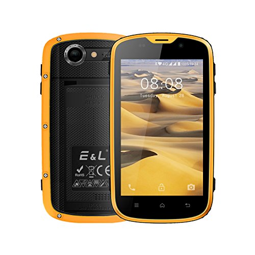E&L W5 Rugged Unlocked Smartphone with Wateproof IP68 Dustproof 4G LTE Android 6.0 Unlocked Outdoor Phones 100% Authentic - 〖AT&T / T-Mobile / Verizon〗 (Yellow)