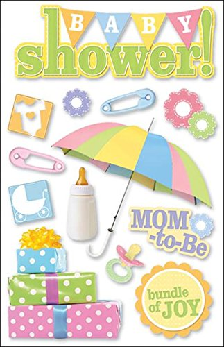 Shower Cards Baby Scrapbooking - Paper House Productions STDM-0047E 3D Cardstock Stickers, Baby Shower (3-Pack)