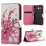 Yakamoz PU Leather Pink Sakura Flip Wallet Card Slots Stand Case Cover for HUAWEI Ascend Y530 with Free Screen Protector & Stylus Pen