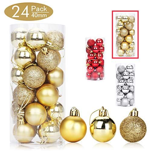 Aitsite 24 Pack Christmas Tree Ornaments Set 1.57 inches Mini Shatterproof Holiday Ornaments Balls for Christmas Decorations (Gold)