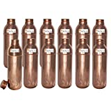 800ml / 27oz - Set of 12 - Prisha India Craft ® Copper New Bislery Bottle with benefited - Pitcher Bottles - Best Quality Water Bottles - Indian Water Carafe - Handmade Christmas Gift Item