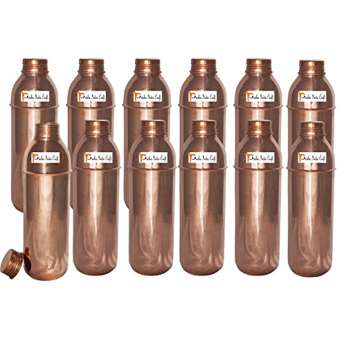 800ml / 27oz - Set of 12 - Prisha India Craft ® Copper New Bislery Bottle with benefited - Pitcher Bottles - Best Quality Water Bottles - Indian Water Carafe - Handmade Christmas Gift Item by Prisha India Craft