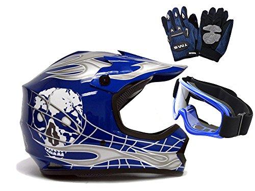 TMS Youth Kids Blue/Silver Punk Dirt Bike Atv Motocross Helmet Mx+goggles+gloves (Medium)
