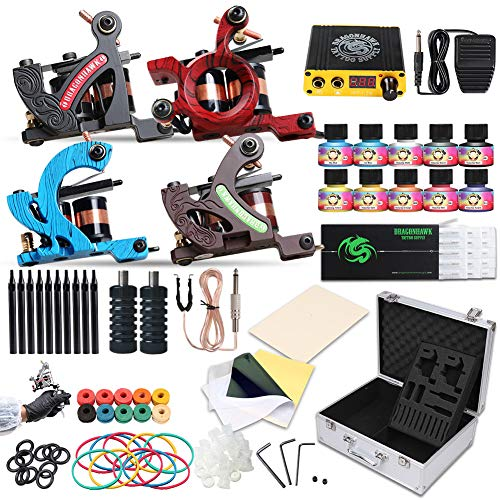 Dragonhawk Complete Tattoo Kit 4 Standard Tunings Tattoo Machines Power Supply 10 Color Immortal Tattoo Inks 50 Needles Tips Grips with Case D139GD ()