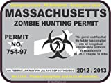 Massachusetts zombie hunting permit decal bumper sticker