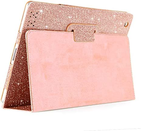 iPad 2 3 4 Glitter Leather Case,FANSONG Sparkle Bling Magnetic Smart Protective Cover Case Girls [Folio Stand,Sleep/Wake up] for Apple iPad 2nd 3rd 4th Generation (9.7-inch Old iPad Edition),Rose Gold