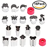 vegetable cutter kids - Hapdoo Vegetable Animal Cutter Shapes Set (16 Piece) – Mini Cookie Cutters, Vegetable Animal Shape Cutters for Kids