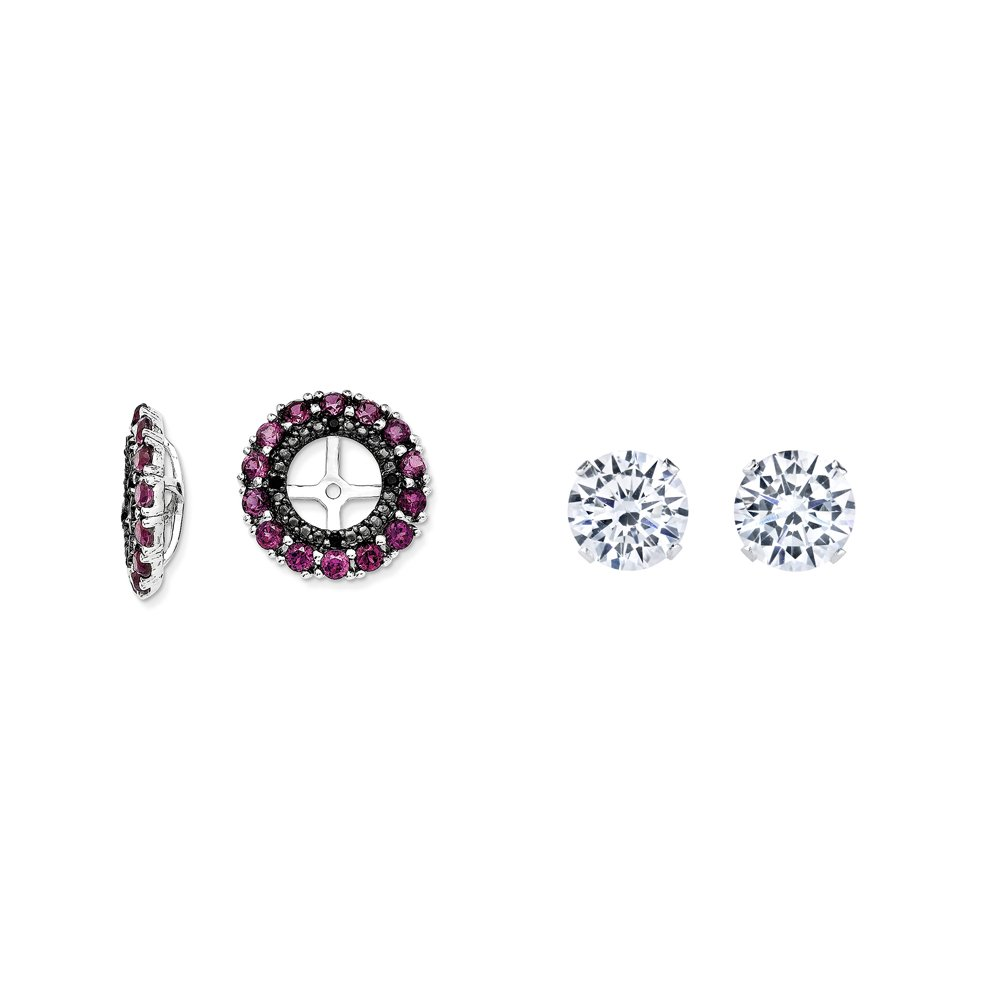 Sterling Silver Simulated Rhodolite, Simulated Garnet, Black Simulated Sapphire Earring Jacket + 2mm CZ Studs