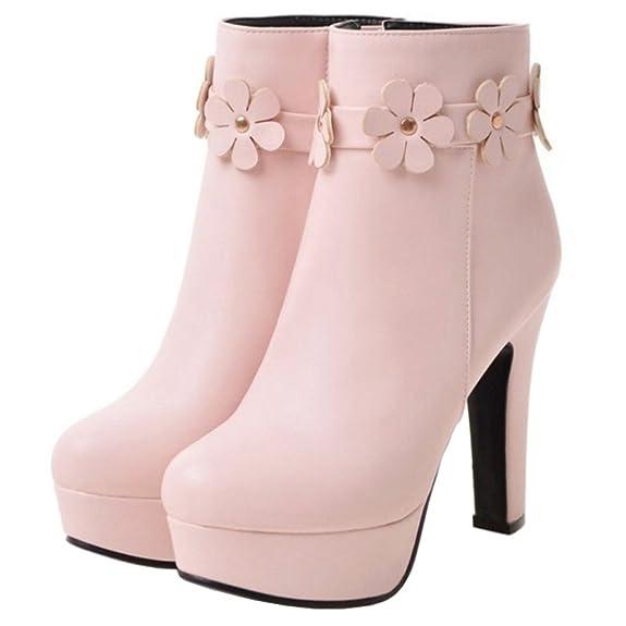 Smilice Damen Plateau Stiefeletten mit Blockabsatz Elegant Kurzschaft Stiefel (Pink, 44 EU)