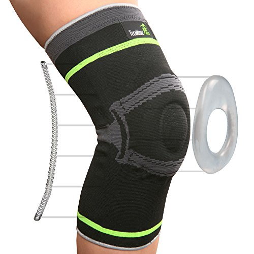 Tech Ware Pro Knee Compression Sleeve - Best Knee Brace with Side Stabilizers & Patella Gel Pads for Knee Support. Arthritis, Meniscus Tear, Joint Pain Relief & Sports Injury Recovery. Single