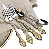 Oneida Golden Michelangelo 66 Piece Fine Flatware Set, 18/10 Stainless with 18K Gold Acccent, Service for 12