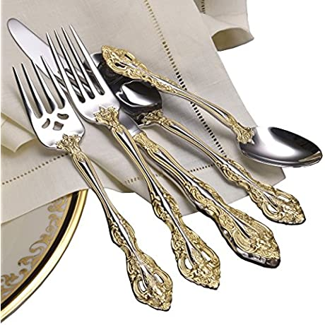 Oneida Golden Michelangelo 46 Piece Fine Flatware Set 18 10 Stainless With 18K Gold Acccent Service For 8