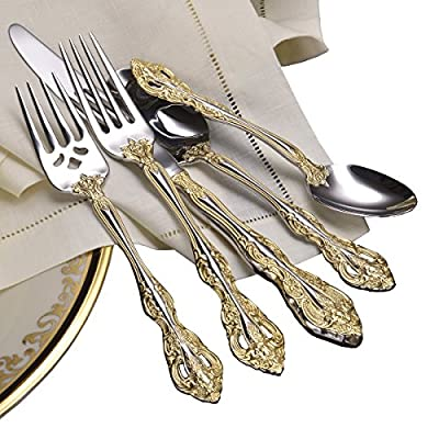 Oneida Golden Michelangelo 5 Piece - Service for 1 - 18K Gold Electroplate 18/10 Stainless Dishwasher Safe - kitchen-tabletop, kitchen-dining-room, flatware - 51OgFuWIWoL. SS400  -