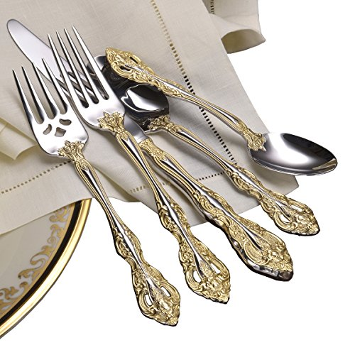 Oneida Golden Michelangelo 66 Piece Fine Flatware Set, 18/10 Stainless with 18K Gold Acccent, Service for - Piece Set 66 Dinner