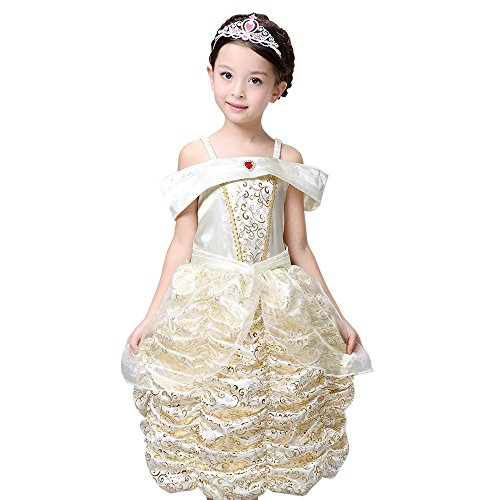 [Ababalaya Girls'Costumes Belle Princess Dress Party Costume Dress, Yellow, 120P] (Little Miss Princess Costume)
