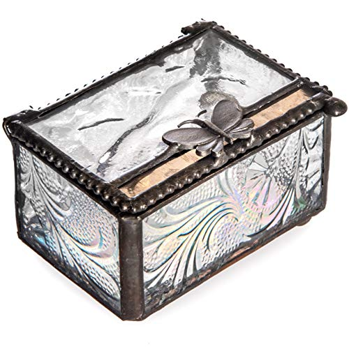 J Devlin Box 861 Stained Glass Keepsake Trinket Decorative Ring Box with Butterfly Accent