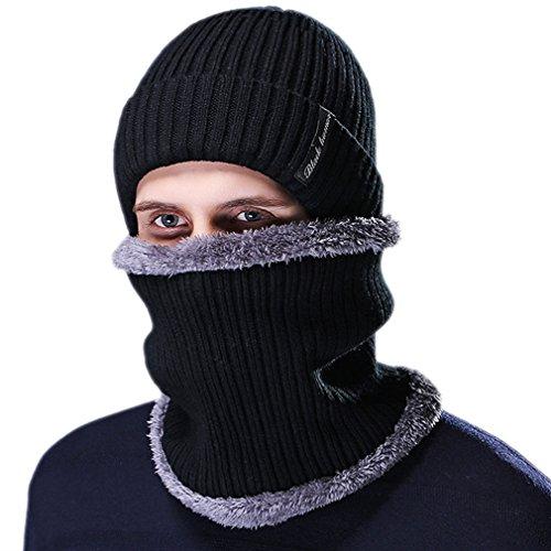 Honghu Gorras Con Bufanda y Gorros de punto Sombreros de Invierno Hombre con Suave Interior de Forro Polar Negro