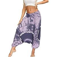 Fansu Boho-broek voor dames, voor de zomer, casual, harembroek, yoga, hippie, boho-print, strand, feest.