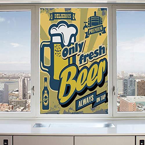 (3D Decorative Privacy Window Films,Delicious Fresh Premium Beer Old Fashion Graphic Design Bottle Keg Mug Foam Decorative,No-Glue Self Static Cling Glass Film for Home Bedroom Bathroom Kitchen Office)