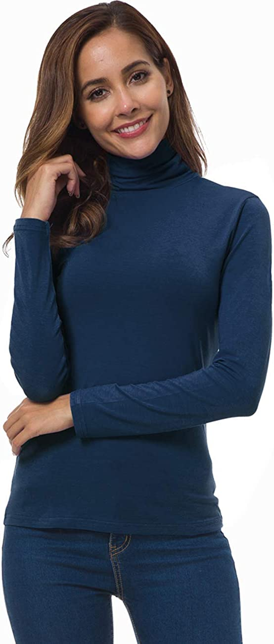VOBCTY Womens Long Sleeve Turtleneck Lightweight Slim Active Shirt