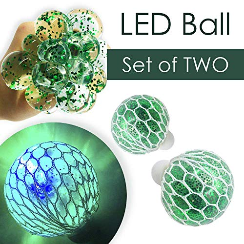 Set of 2 LED Squishy Mesh Anti Stress Ball - Light Up Stress & Anxiety Relief Ball - Non-Toxic For Kids & Adults Autism ADHD - Sensory and Fidget Toy - Concentration in Class - DNA Ball - Green