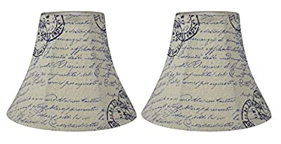Urbanest Chandelier Lamp Shade, 3-inch by 6-inch by 5-inch, Bell, Vintage Script, Clip-on