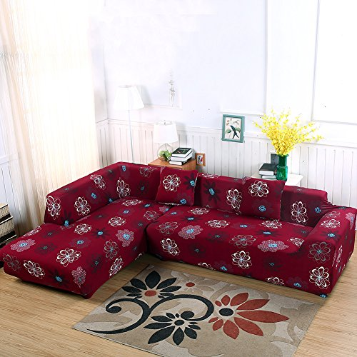 Universal Sofa Covers for L Shape, 2pcs Polyester Fabric Stretch Slipcovers + 2pcs Pillow Covers for Sectional sofa L-shape Couch (Red)