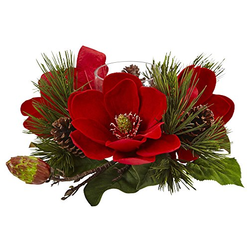 Nearly Natural Magnolia & Pine Candelabrum, Red