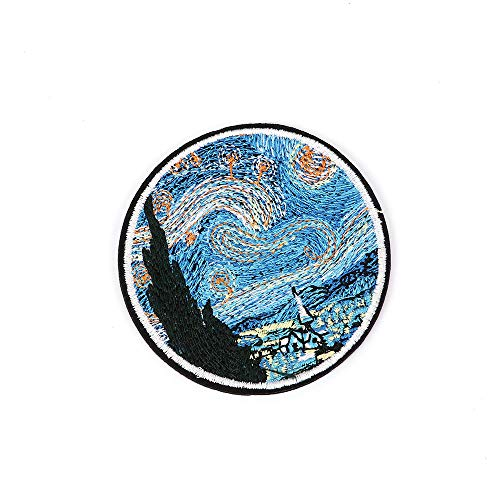 Appliqu - 1 Pcs The Star Night Patches Embroidery Iron On Clothes Jeans Round Decor - Mermaid Iceland Pack Moon Funny Black Armor Large Cactus Eggplant Green Custom Duty Animal ()